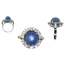 Blue Round Stone 925 Silver Ring Jewellery for Gift