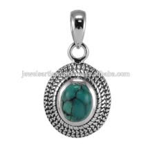 Beautiful Tibetan Turquoise Gemstone & 925 Sterling Silver Antique Design Pendant Jewelry