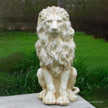 Outdoor Garden Ornament Life Size White Fiberglass Resin Sitting Lion Statue Sculpture
