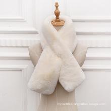 Fashion fake rabbit fur cross collar scarf thicker warm winter faux fur scarf