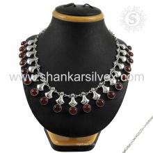Atemberaubende rote Jaspis Edelstein Silber Halskette Schmuck 925 Sterling Silber Schmuck indischen Silber Schmuck