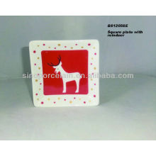 Porcelain square plate with christmas artwork for BS12056E