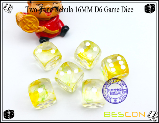 Two-Tone Nebula 16MM D6 Game Dice-2