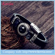 Dernier bracelet en cuir de charme avec bracelet en cuir noir en pierre avec fermeture magnétique