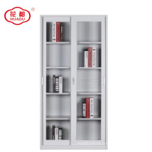 Steel office furniture sliding 2 glass door file storage display cupboard cabinet