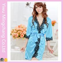 Women′s Sexy Silky Satin Lingerie Lace Pajamas (80001-1)