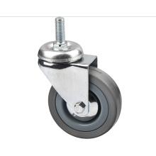Roulette industrielle en caoutchouc gris et léger