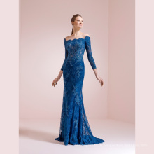 off The Shoulder Lace Long Sleeve Mermaid Party Evening Gown