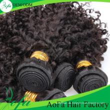 Großhandel Top Qualität Menschliches Lockiges Haar Remy Reine Haareinschlagfaden