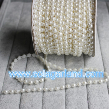 25M/Roll ABS Plastic Flat Back Imitation Pearl Beaded Chains