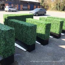 Plantador de setos de boj verde de tamaño personalizado para pantallas de privacidad de balcón