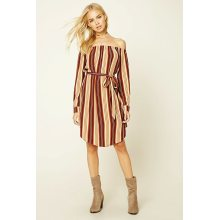 Fashion Striped off Shoulder Long Sleeve Dress