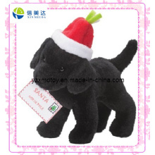 Santa Claus′ Helper Black Dog Cheap Christmas Plush Toy (XDT-0185)