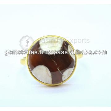 Природные Позолоченные Кольца Драгоценный Камень Оптовый Поставщик Стерлингового Серебра 925 Драгоценный Камень Безель Кольцо