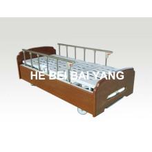 (A-116) Cama de hospital manual com função dupla com cabeça de cama de madeira