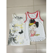 Camiseta sin mangas Chaleco para niña en ropa de moda para niños (SV-021-029)