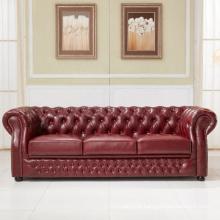 Sofá de couro de Chesterfield estilo Europeu