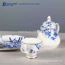 Juego de té japonés del estilo llano de la pintura de bambú, sistemas finos del té del café de China del hueso de China