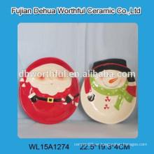 Venta al por mayor claus de santa y forma de muñeco de nieve placa de cerámica para la Navidad
