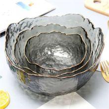 Smoke Gray Painted Gold Salad Bowl