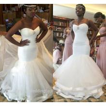 2017 Sweetheart Appliques Beaded Ruffles African Plus Size Mermaid Wedding Dresses WW1423
