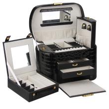 Черный кожаный случай ювелирных изделий (НХ-A0739-1)