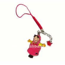 2011 novel The Little Red Riding Hood metal mobile phone chain/ happy girl metal chain with colorful glass for keys and phones