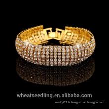 2015 Vogue Luxury Gold Silver Bracelet en cristal complet pour dames