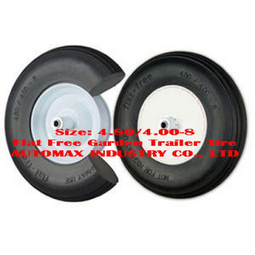 "4.80/4.00-8"" Flat Free Garden Trailer Tire"