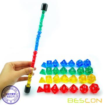 Bescon 28pcs Colorido Translúcido Mini Polyhedral Dice Set en Tube, Dungeons and Dragons RPG Dice 4X7pcs, Mini Gem Dice Set