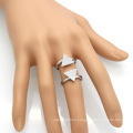 Open Cuff Simple Gold Double Two Triangle Shape Ring