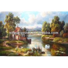 Pintura al óleo natural del paisaje de la aldea por Handmade