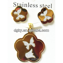 Conjunto de jóias de borboleta de aço inoxidável conjunto pendente brinco