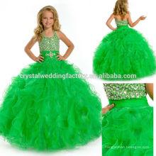 2014 sequined beaded ruffled skirt ball gown long green little girls pageant dress CWFaf5767