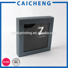 Caja de papel del cartón negro del fabricante de China con la ventana del PVC