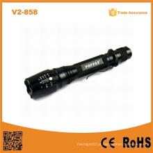 Venda quente V2-858 18650 Bateria recarregável de longa distância da tocha Xm-L T6 Bright LED impermeável Lanternas