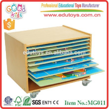 Montessori Preschool Educational Toys Geography Wooden Cabinet for Puzzle Maps