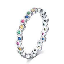 Fashion Dazzling CZ Stone Jewelry Gift 925 Sterling Silver Colorful Rainbow Zircon Finger Ring for Women
