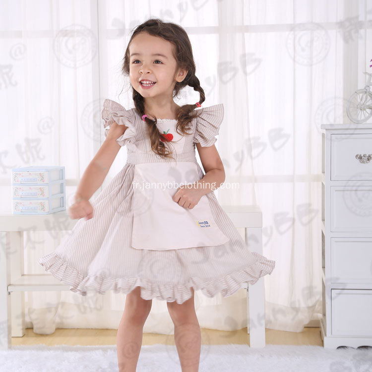 Litière grey stripe girls apron boutique robes