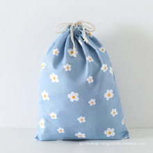 Customised soft washing durable organic cotton tote draw string small foldable canvas cloth drawstring bag with logo