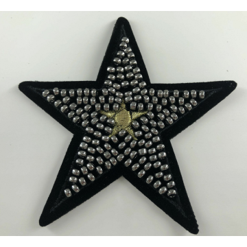 Guld Metallic tråd Star Beaded Iron på patch