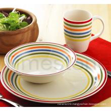 Stoneware 12PCS Handpainted Stripes Dinner Set (TM7516)