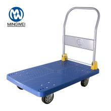 Carro de comida de mano con carrito de plataforma plegable azul de 400 kg