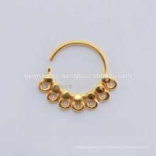 Vente en gros Septum Nose Ring Body Jewelry Fabricant, bijoux en or plaqué or à la main