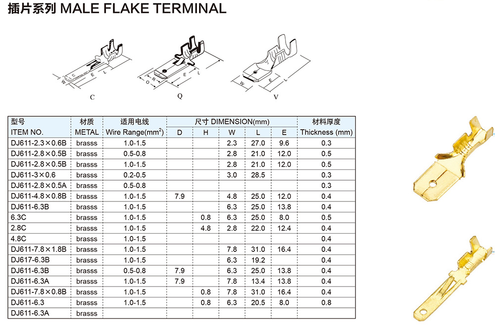 MALE FLAKE TERMINAL PARAMETERS