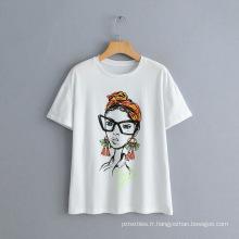 Nouveau T-shirt à manches courtes imprimé de caractère nordique