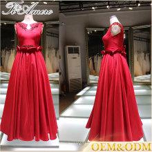 Panyu proveedor noche vestido de fiesta rojo vestido de noche con cinturón de encargo