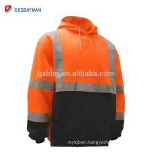 Men's ANSI Class 3 Hi VIz Sweatshirt,High Visibility Hooded Sweatshirt with 360 Degree Reflective Tapes