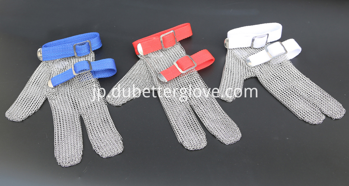 three fingers protection steel mesh gloves