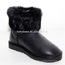 New inverno senhora plana fox pele neve botas curtas para a menina